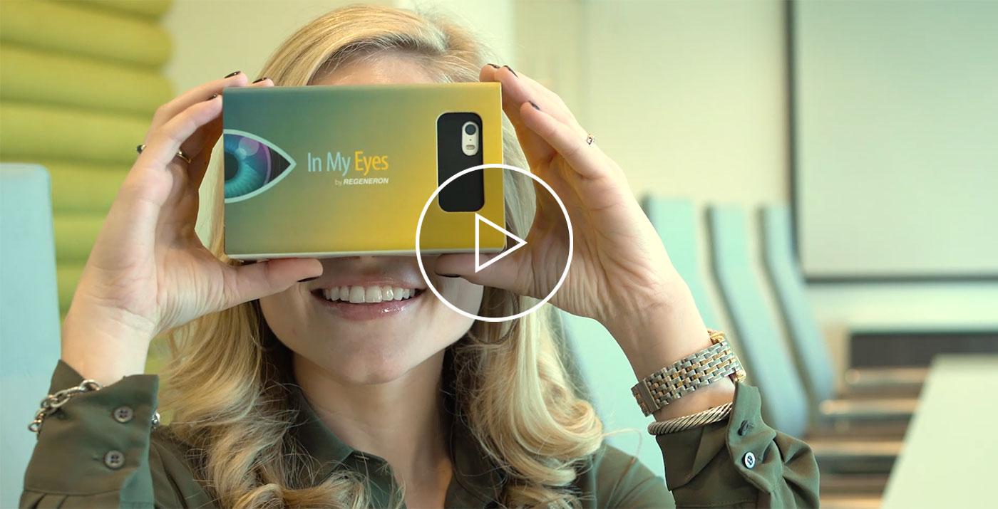 Regeneron's Eylea woman with VR viewer