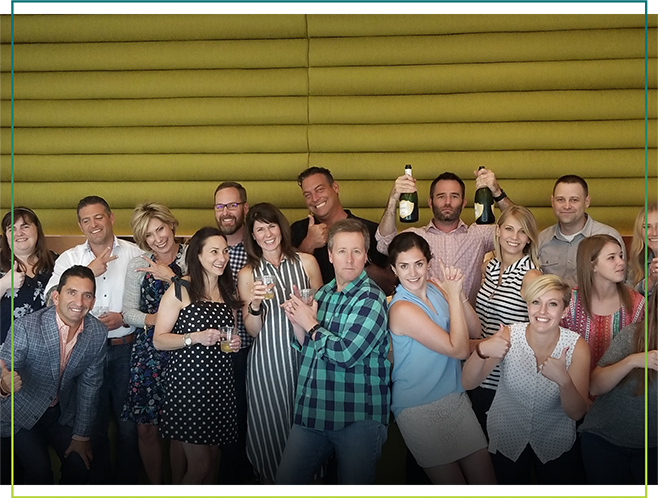 celebratory photo of Intouch and the Eylea client teams after the app launch