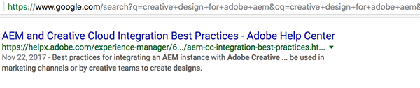 Screen shot of Google results