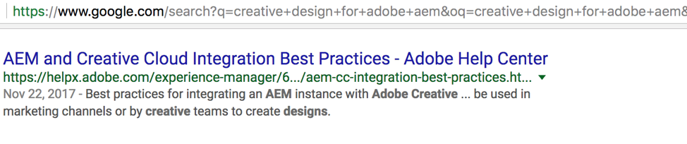 Screen shot of google search results for Adobe AEM