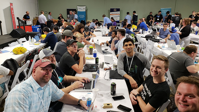 Photo of Intouch team members at Hack Midwest 2018