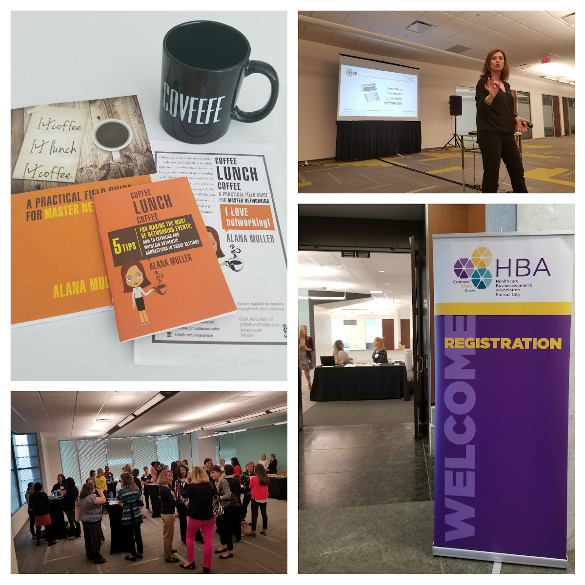 Collage of images from HBA networking event at Intouch Solutions offices