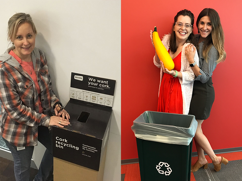 Collage of Intouch ladies recycling