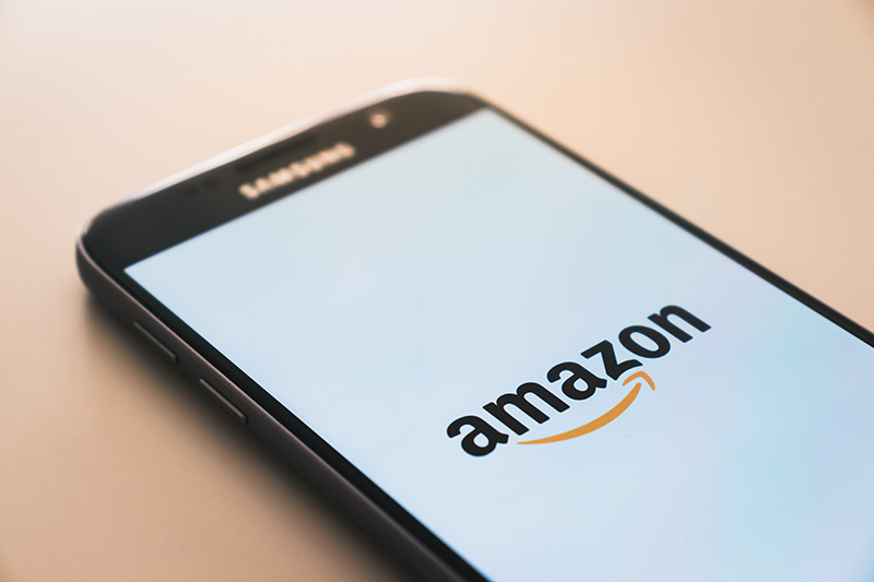 Photo of Amazon logo on a smartphone