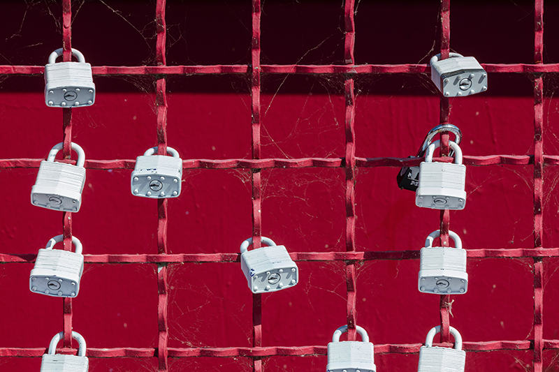 Photo showing locks on a gate with red background