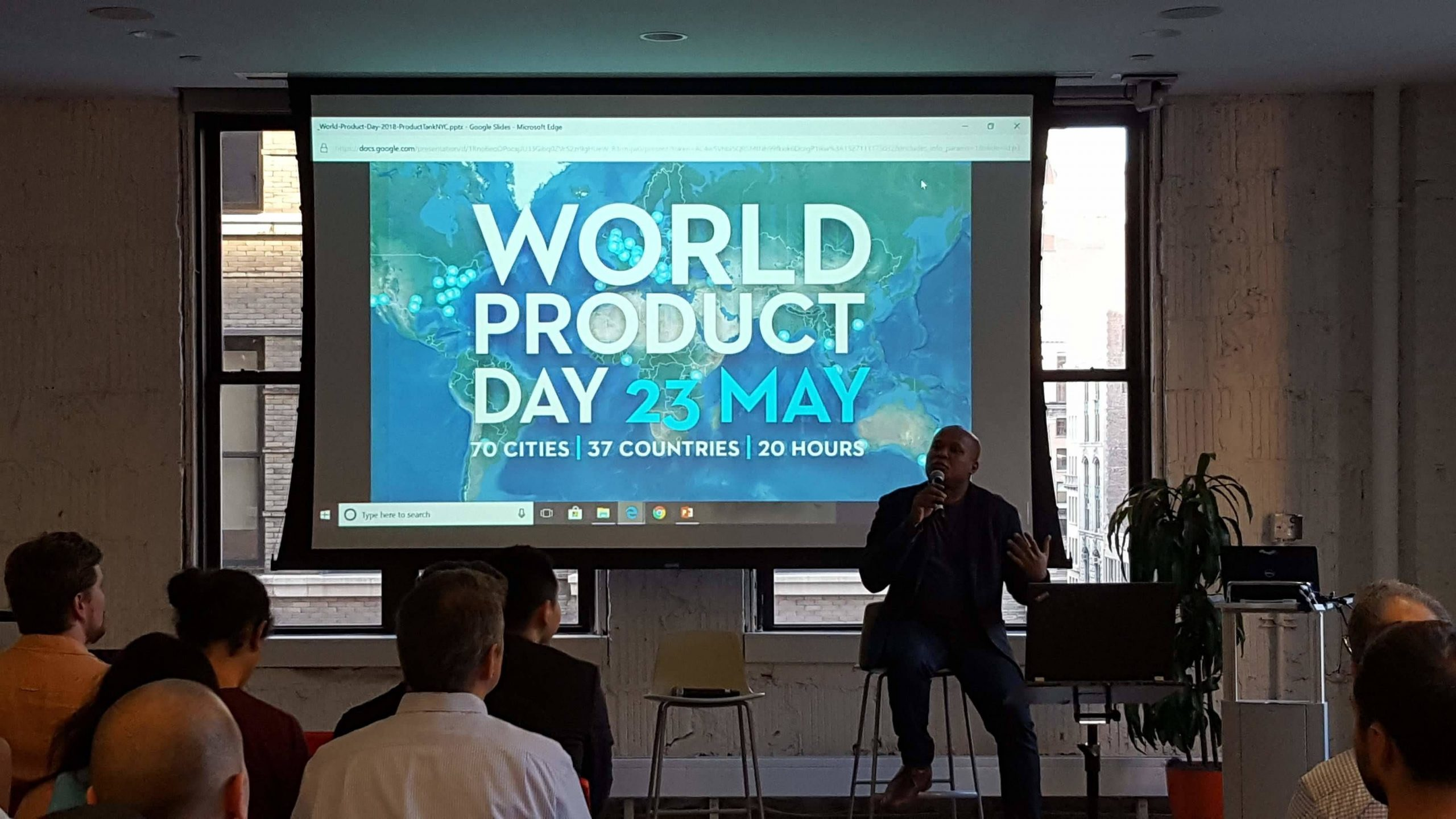 Photo of man speaking at World Product Day