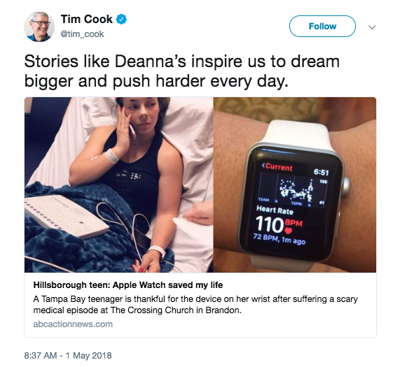 SCreen shot of Tim Cook tweet about Apple Watch