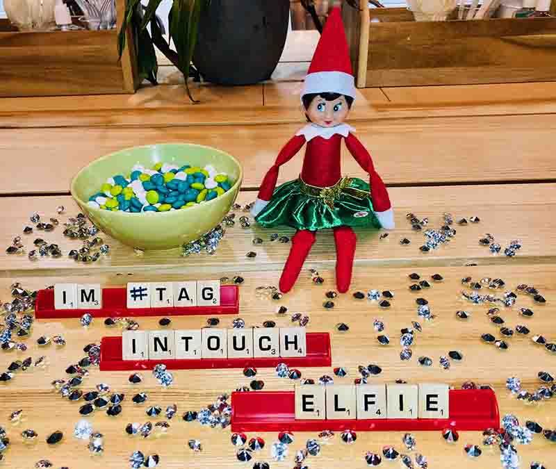 Image of Elfie the Elf with M&Ms