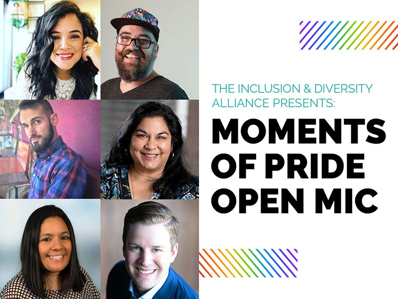 Image of promotional poster for the Moments of Pride Open Mic event