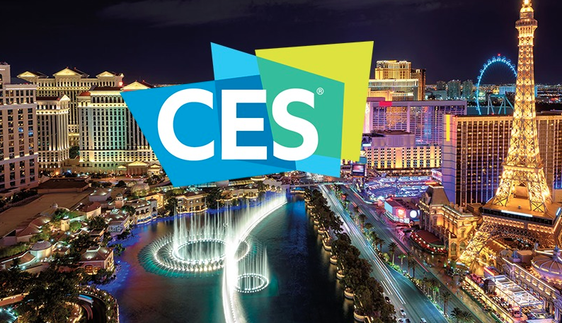 "Image showing ""CES"" on top of photo of Las Vegas skyline"