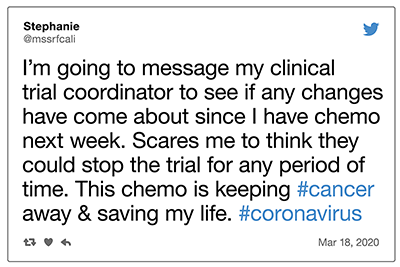 COVID-19 tweet about clinical trials