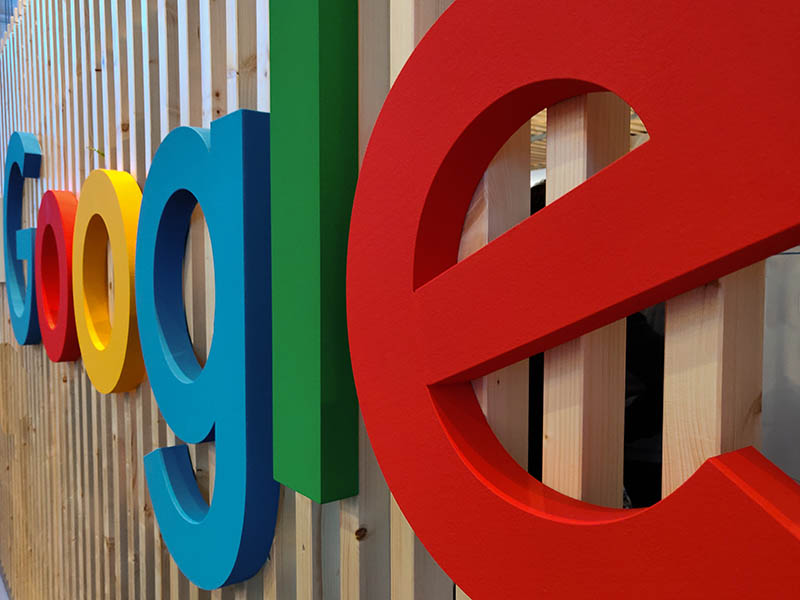 Photo showing Google sign from the side