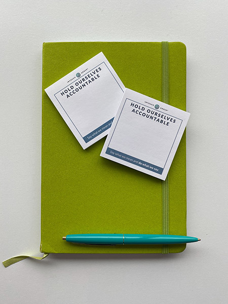 Image of notebook and post-its