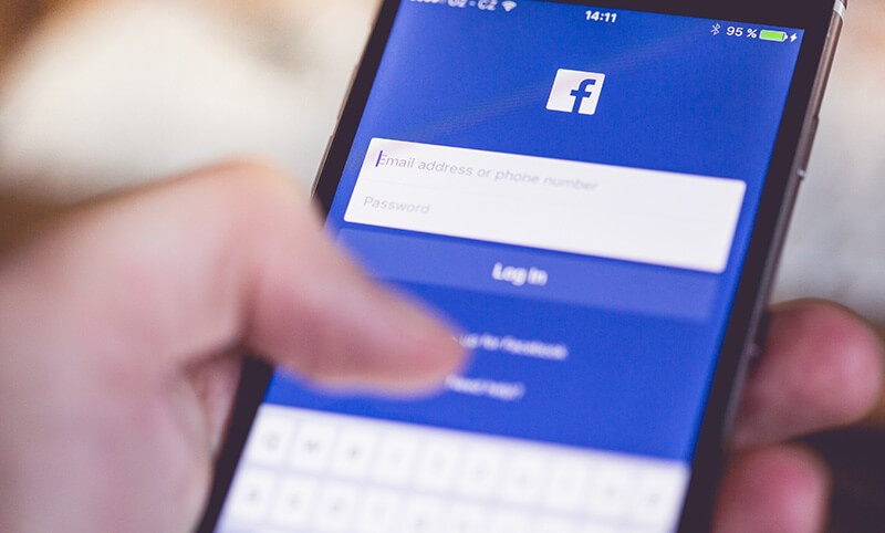 Image of Facebook login screen on mobile phone