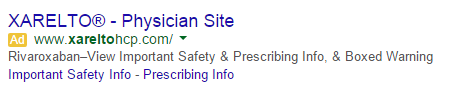 Example of black box ad with link to important safety information