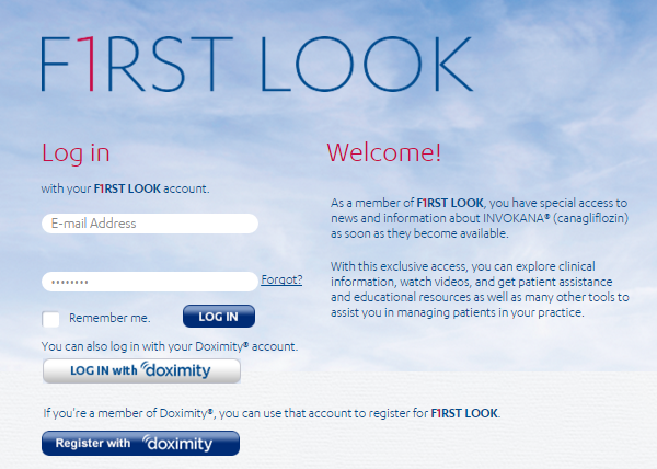 Example of pharmaceutical social sign-in for HCPs who use Doximity