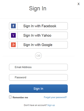 Image showing example of social sign-in options