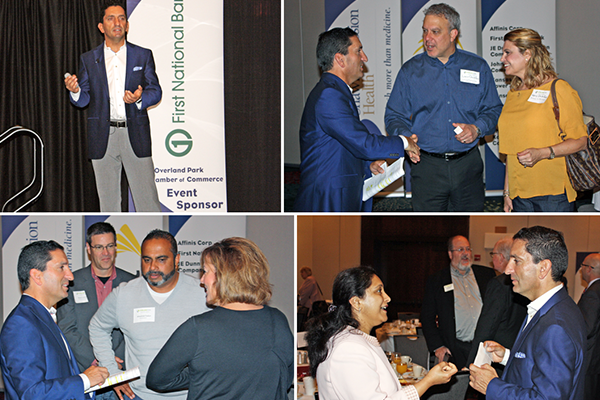 Collage of Faruk Capan speaking with Chamber of Commerce presentation attendees