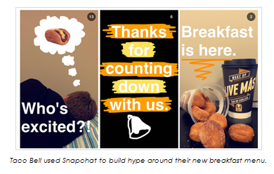Image of Taco Bell Snapchat campaign for their new breakfast menu