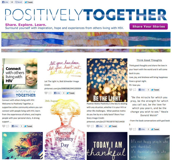 Image of the Positively Together webpage on Tumblr